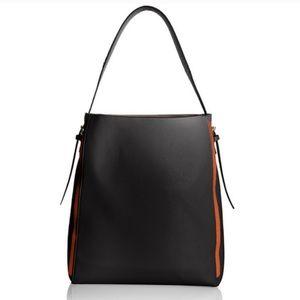Large Black Hobo bag with Cognac Trim + Pouch